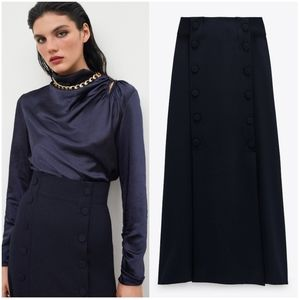 NWT ZARA | Limited Edition Buttoned Midi Skirt